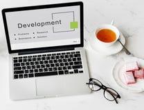 Conceito dos objetivos da estratégia da partida de negócio do desenvolvimento Foto de Stock