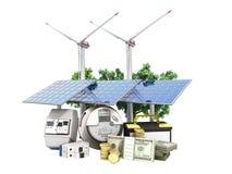 Conceito dos painéis solares de poupança de energia e de um moinho de vento perto do mim Imagem de Stock