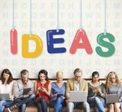 Conceito dos pensamentos da estratégia da visão do projeto de plano das ideias Foto de Stock Royalty Free