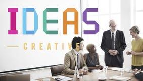 Conceito dos pensamentos da estratégia da visão do projeto de plano das ideias Imagens de Stock