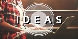 Conceito dos pensamentos da estratégia da visão do projeto de plano das ideias Foto de Stock