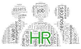 Conceito dos recursos humanos na nuvem da etiqueta Foto de Stock