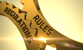 Conceito dos regulamentos das regras Engrenagens douradas da roda denteada 3d Foto de Stock