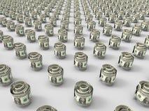 Conceito dos rolos 3D das notas de dólar ilustração stock