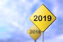 Conceito 2019 dos sinais de estrada do ano novo feliz ilustração do vetor