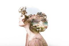 Conceito dos sonhos Efeito da exposição dobro do retrato fotografia de stock royalty free