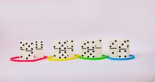 Conceito dos traços da personalidade baseado em tipos da cor Domínio, causa, submissão, e conformidade Grupo de dominó Fotografia de Stock