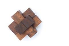 Conceito dos trabalhos de equipa do negócio: Brain Teaser de madeira ou enigmas de madeira Foto de Stock