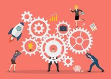 Conceito dos trabalhos de equipa do negócio com sistema do mecanismo Imagens de Stock