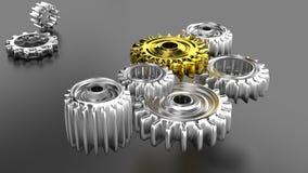 Conceito dos trabalhos de equipa: engrenagens brilhantes do cromo Foto de Stock Royalty Free