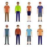 Conceito dos trabalhos de equipa Equipe do empregado de escritório Grupo de oito caráteres do escritório em um fundo branco Fotos de Stock Royalty Free