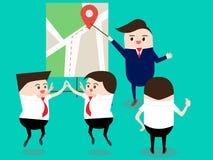 Conceito dos trabalhos de equipa: Líder com mapa que explica o melhor e o plano da rota Foto de Stock