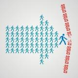 Conceito dos trabalhos de equipa - a multidão de trabalhadores segue o líder da equipa Imagem de Stock Royalty Free