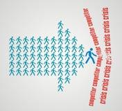 Conceito dos trabalhos de equipa - a multidão de trabalhadores segue o líder da equipa Imagens de Stock