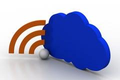 Conceito dos trabalhos em rede da nuvem com sinal dos rss Imagens de Stock
