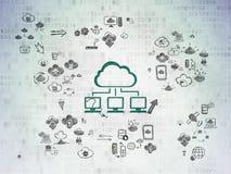 Conceito dos trabalhos em rede da nuvem: Rede da nuvem em digital ilustração do vetor