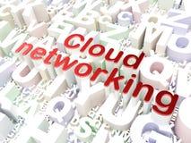 Conceito dos trabalhos em rede da nuvem: Trabalhos em rede da nuvem no fundo do alfabeto Fotografia de Stock Royalty Free