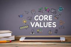 Conceito dos valores, do negócio e da tecnologia do núcleo fotografia de stock