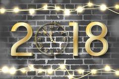 Conceito 2018 dourado do ano novo com luzes de Natal realísticas no fundo da parede de tijolo ilustração stock