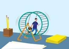 Conceito e mais do viciado em trabalho Empresário ou vendas que introduzem no mercado a corrida infinita em uma roda do hamster ilustração stock
