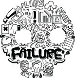 Conceito e metáfora da falha de negócio ilustração stock