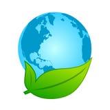 Conceito Eco-amigável da terra e da folha Imagem de Stock
