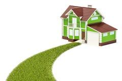 Conceito ecológico da casa, maneira gramínea verde de dirigir rendição 3d ilustração stock
