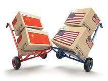 Conceito econômico do conflito do mercado da guerra comercial dos EUA China Dois oppos Imagem de Stock