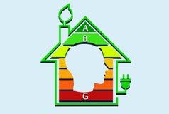 Conceito eficiente da casa da energia com gráfico da classificação para dentro ilustração do vetor