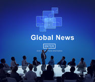 Conceito em linha da atualização da tecnologia da notícia global imagens de stock