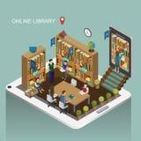 Conceito em linha da biblioteca Imagem de Stock Royalty Free