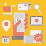 Conceito em linha da compra com telefone, computador, sacos de compras, cartões de crédito, vales e produtos ilustração do vetor