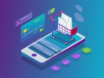 Conceito em linha da compra do telefone esperto isométrico Loja em linha, ícone do carrinho de compras Comércio eletrônico ilustração stock