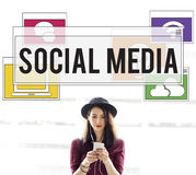Conceito em linha da conexão dos trabalhos em rede da tecnologia de comunicação fotos de stock royalty free