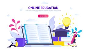 Conceito em linha da educação ilustração royalty free