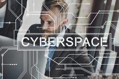 Conceito em linha da globalização da conexão do Internet do Cyberspace imagens de stock royalty free