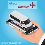 Conceito em linha da ordem de transfer do aeroporto do app do móbil isométrico Fotografia de Stock Royalty Free