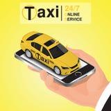 Conceito em linha da ordem do táxi do app do móbil isométrico Fotografia de Stock
