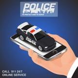 Conceito em linha da polícia da chamada do app do móbil isométrico Foto de Stock Royalty Free