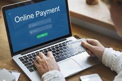 Conceito em linha da tecnologia dos Internet banking do pagamento foto de stock