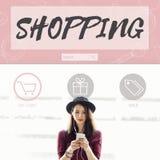 Conceito em linha de compra de Shopaholics da venda da compra Imagens de Stock Royalty Free