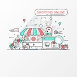 Conceito em linha de compra Este grupo contém elementos do ícone, o Web site de compra, a loja em linha, a loja, o saco de compra ilustração do vetor