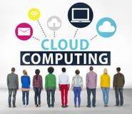 Conceito em linha do armazenamento do Internet da rede de computação da nuvem fotos de stock royalty free