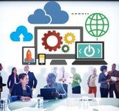 Conceito em linha do armazenamento do Internet da rede de computação da nuvem foto de stock royalty free
