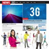 conceito em linha do Internet dos trabalhos em rede de uma comunicação da tecnologia 3G Fotos de Stock Royalty Free