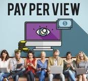Conceito em linha do mercado do pay per view Foto de Stock Royalty Free