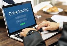 Conceito em linha dos Internet banking do pagamento imagens de stock royalty free