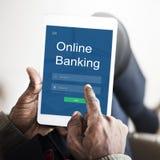 Conceito em linha dos Internet banking do pagamento foto de stock