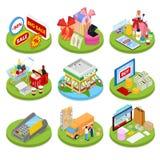 Conceito em linha isométrico da compra Pagamento móvel Loja do Internet Negócio eletrônico Foto de Stock