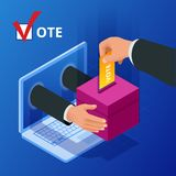 Conceito em linha isométrico da votação e da eleição O governo em linha da eleição da política da democracia do voto de Digitas ilustração do vetor